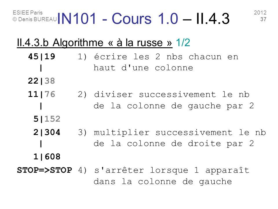 ESIEE Paris © Denis BUREAU 2012 37 IN101 - Cours 1.0 – II.4.3 II.4.3.b Algorithme « à la russe » 1/2 45|19 1) écrire les 2 nbs chacun en | haut d'une