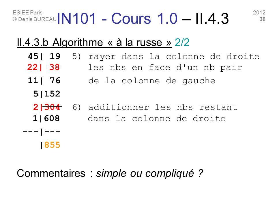 ESIEE Paris © Denis BUREAU 2012 38 II.4.3.b Algorithme « à la russe » 2/2 45| 19 5) rayer dans la colonne de droite 22| 38 les nbs en face d'un nb pai