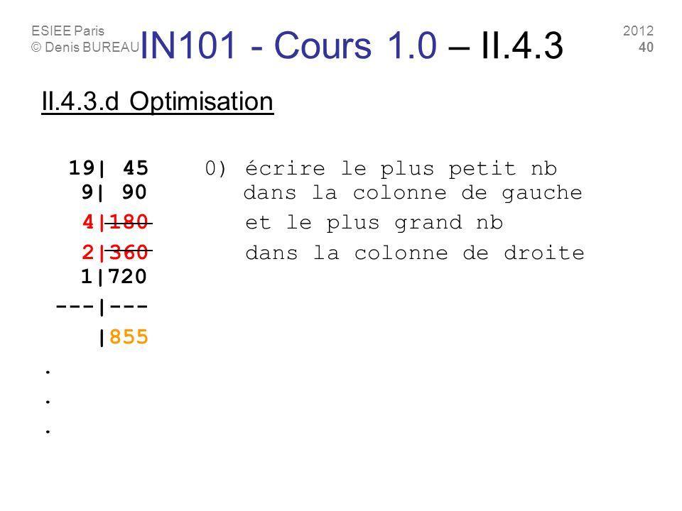 ESIEE Paris © Denis BUREAU 2012 40 II.4.3.d Optimisation 19| 45 0) écrire le plus petit nb 9| 90 dans la colonne de gauche 4|180 et le plus grand nb 2