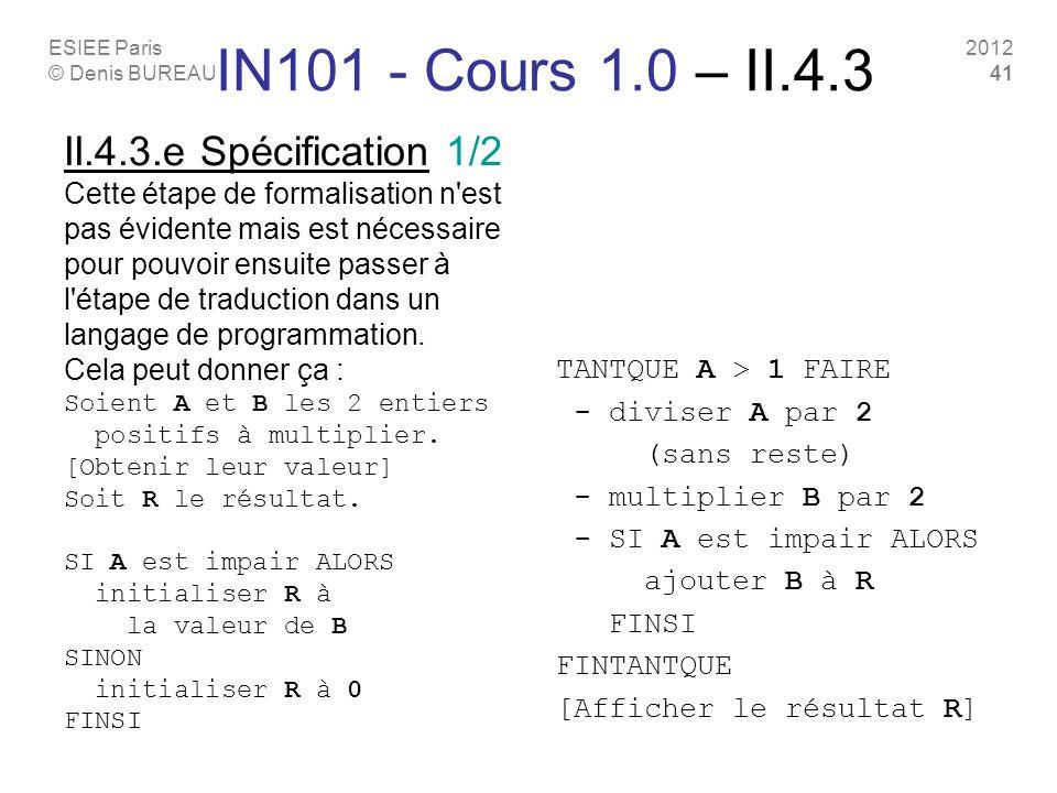 ESIEE Paris © Denis BUREAU 2012 41 II.4.3.e Spécification 1/2 Cette étape de formalisation n'est pas évidente mais est nécessaire pour pouvoir ensuite