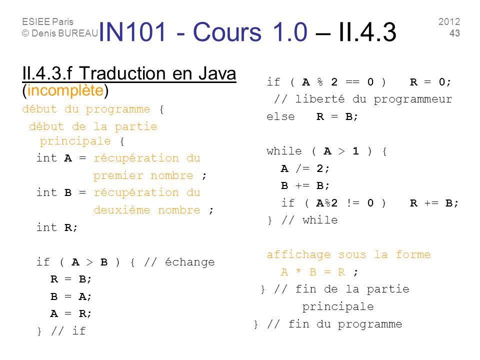ESIEE Paris © Denis BUREAU 2012 43 II.4.3.f Traduction en Java (incomplète) début du programme { début de la partie principale { int A = récupération