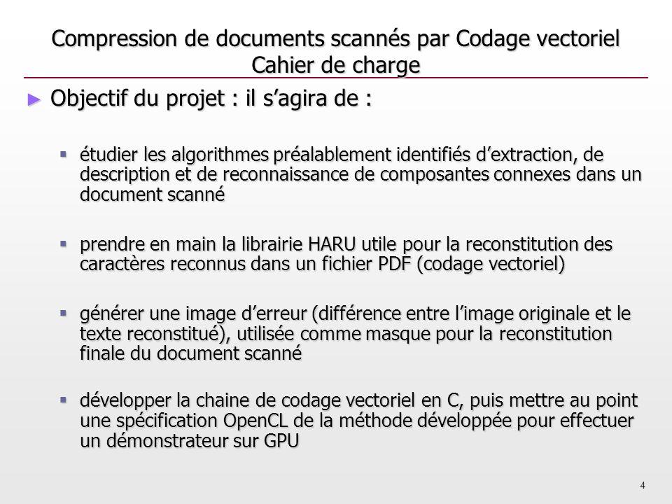 4 Compression de documents scannés par Codage vectoriel Cahier de charge Objectif du projet : il sagira de : Objectif du projet : il sagira de : étudi