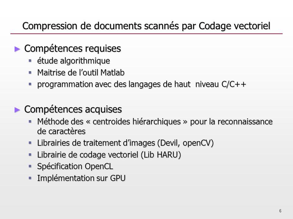 6 Compression de documents scannés par Codage vectoriel Compétences requises Compétences requises étude algorithmique étude algorithmique Maitrise de