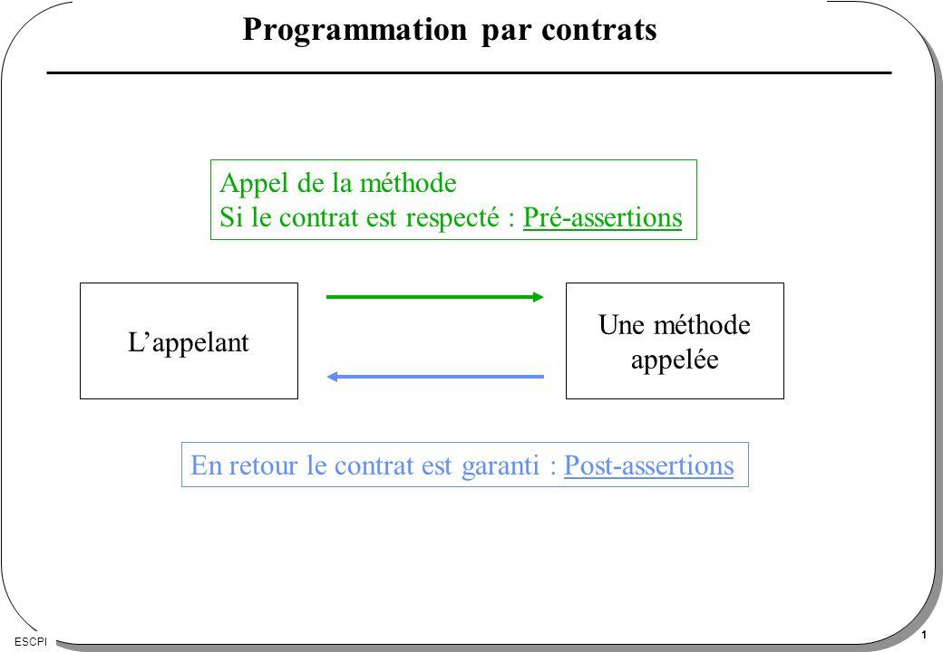 ESCPI 1 Programmation par contrats Une méthode appelée Appel de la méthode Si le contrat est respecté : Pré-assertions Lappelant En retour le contrat est garanti : Post-assertions