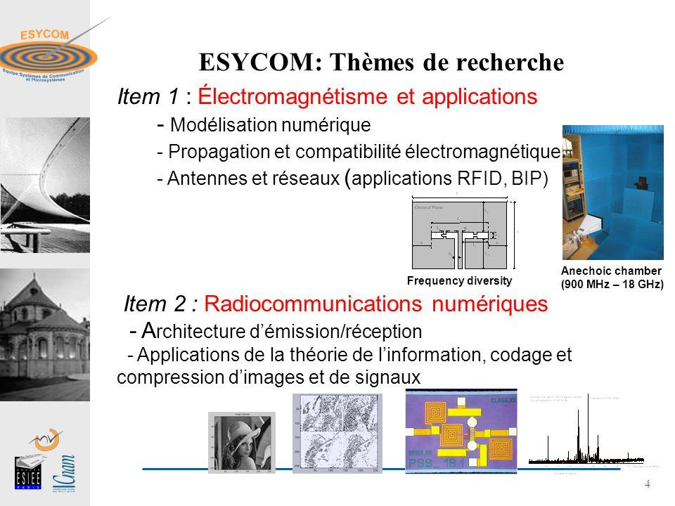 5 ESYCOM: Thèmes de recherche Item 3 : Microsystèmes et micro-technologies - Capteurs, actionneurs et électronique associée - MEMS RF et optiques Item 4 : Photonique et microondes - Composants et MOEMS Photoniques et microondes - Liaisons optique-microondes sur fibre et circuits monolithiques 2D photonic Cristal