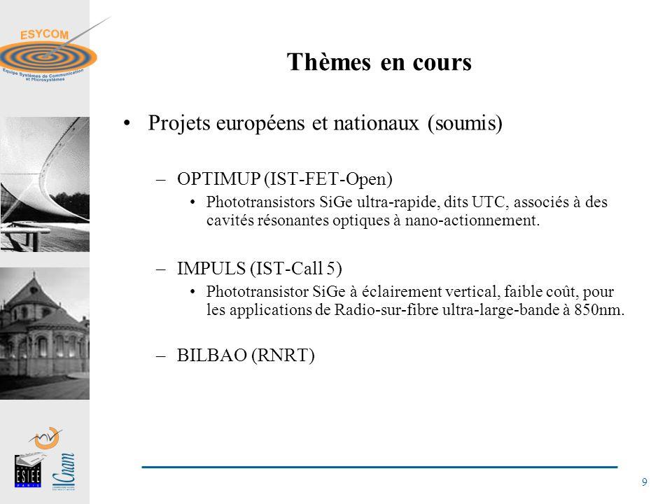 9 Thèmes en cours Projets européens et nationaux (soumis) –OPTIMUP (IST-FET-Open) Phototransistors SiGe ultra-rapide, dits UTC, associés à des cavités