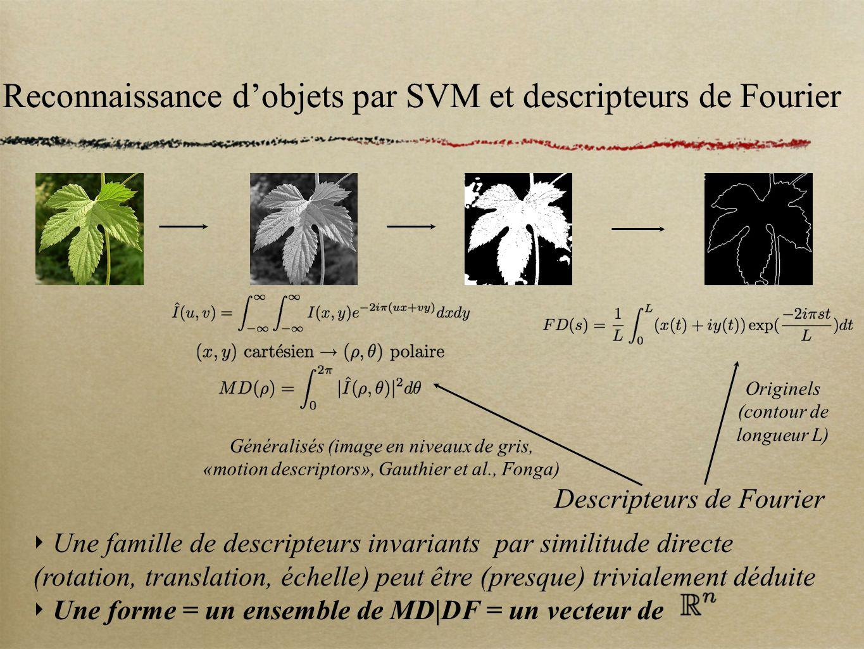 Reconnaissance dobjets par SVM et descripteurs de Fourier Descripteurs de Fourier Originels (contour de longueur L) Généralisés (image en niveaux de g