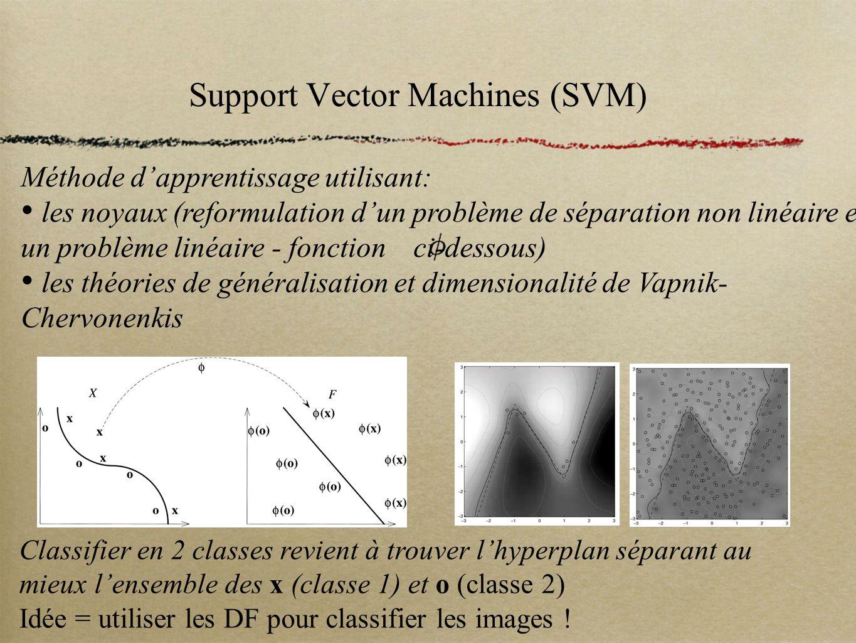 Support Vector Machines (SVM) Méthode dapprentissage utilisant: les noyaux (reformulation dun problème de séparation non linéaire en un problème linéa