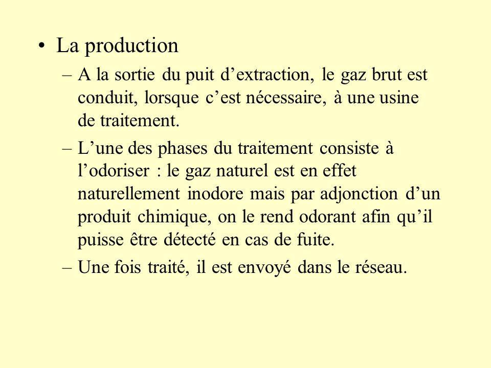 –A la sortie du puit dextraction, le gaz brut est conduit, lorsque cest nécessaire, à une usine de traitement. –Lune des phases du traitement consiste