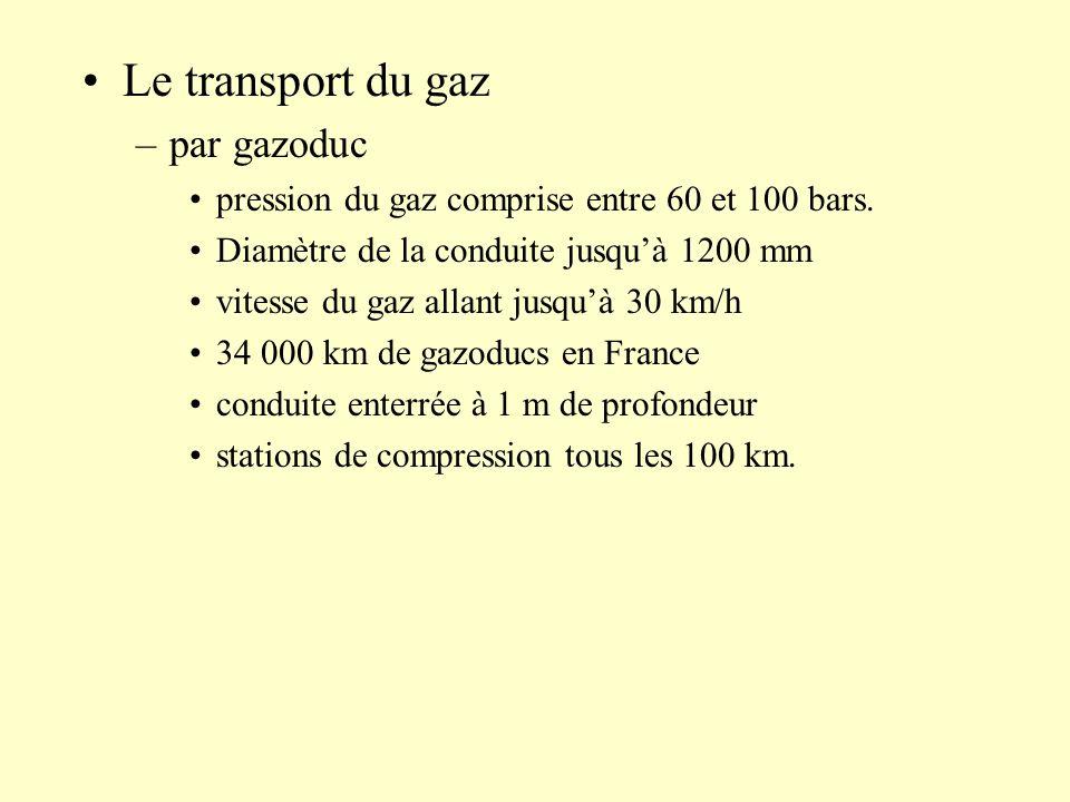 Le transport du gaz –par gazoduc pression du gaz comprise entre 60 et 100 bars. Diamètre de la conduite jusquà 1200 mm vitesse du gaz allant jusquà 30