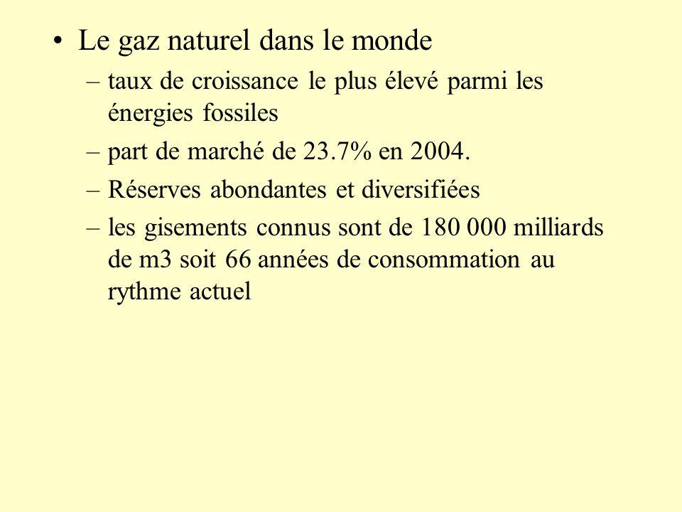 Le gaz naturel dans le monde –taux de croissance le plus élevé parmi les énergies fossiles –part de marché de 23.7% en 2004. –Réserves abondantes et d