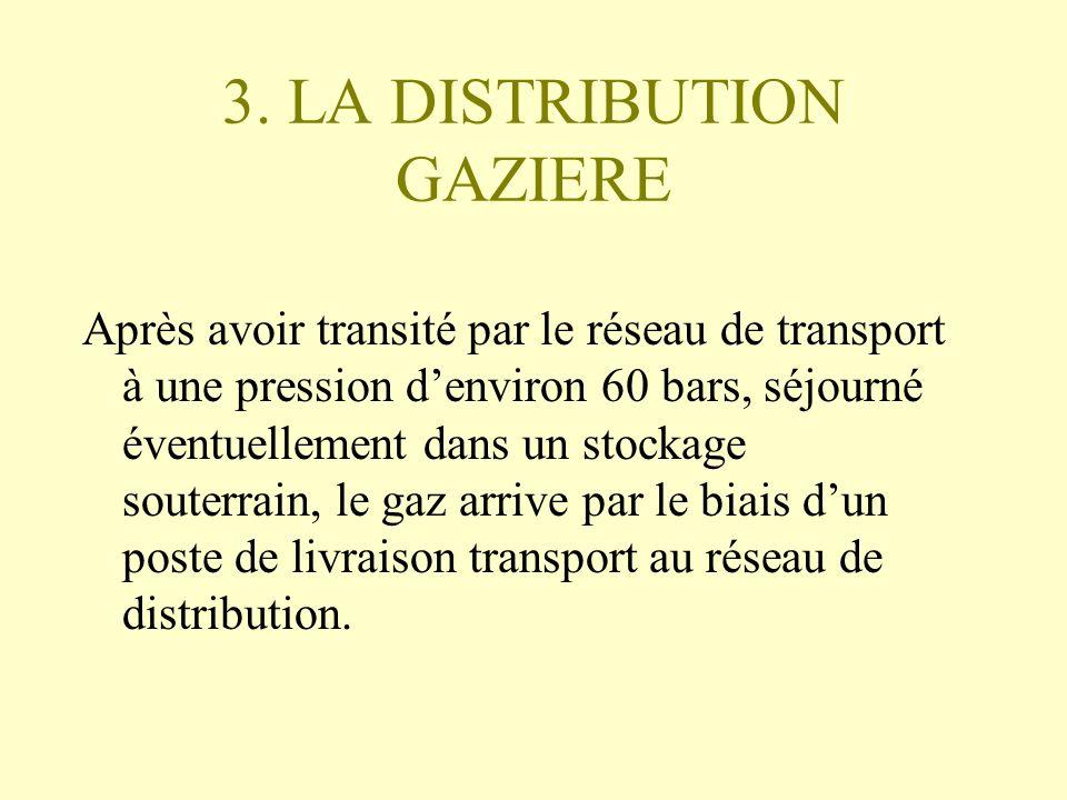 3. LA DISTRIBUTION GAZIERE Après avoir transité par le réseau de transport à une pression denviron 60 bars, séjourné éventuellement dans un stockage s