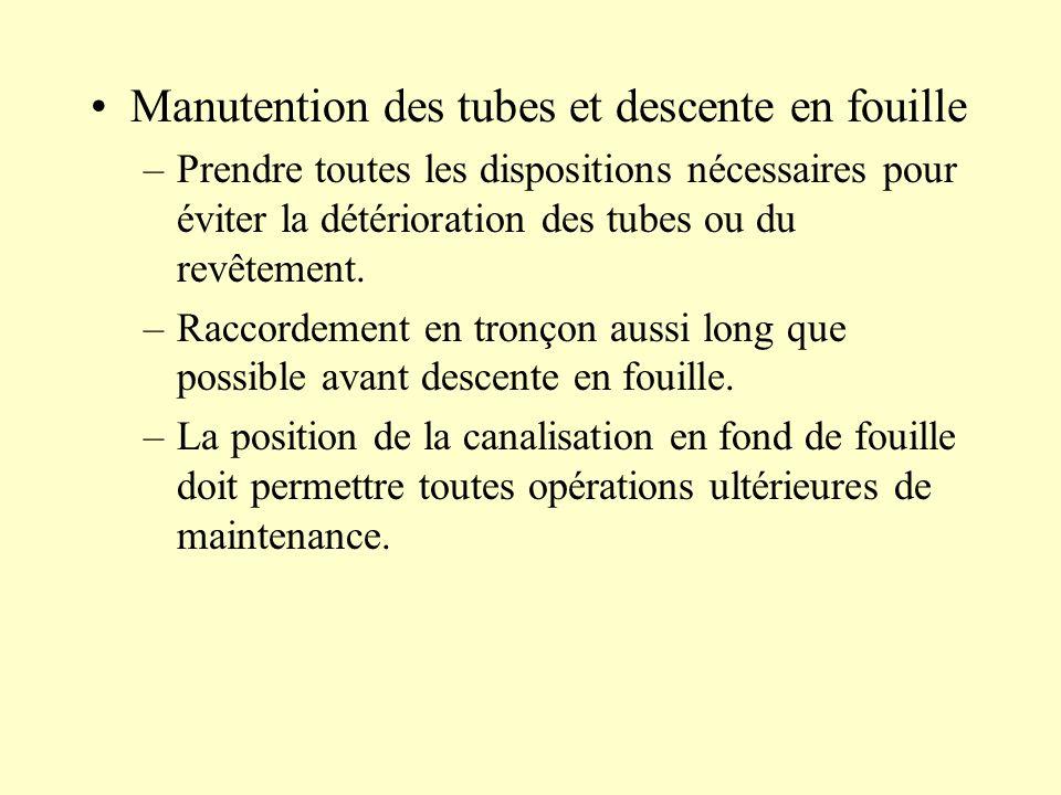 Manutention des tubes et descente en fouille –Prendre toutes les dispositions nécessaires pour éviter la détérioration des tubes ou du revêtement. –Ra