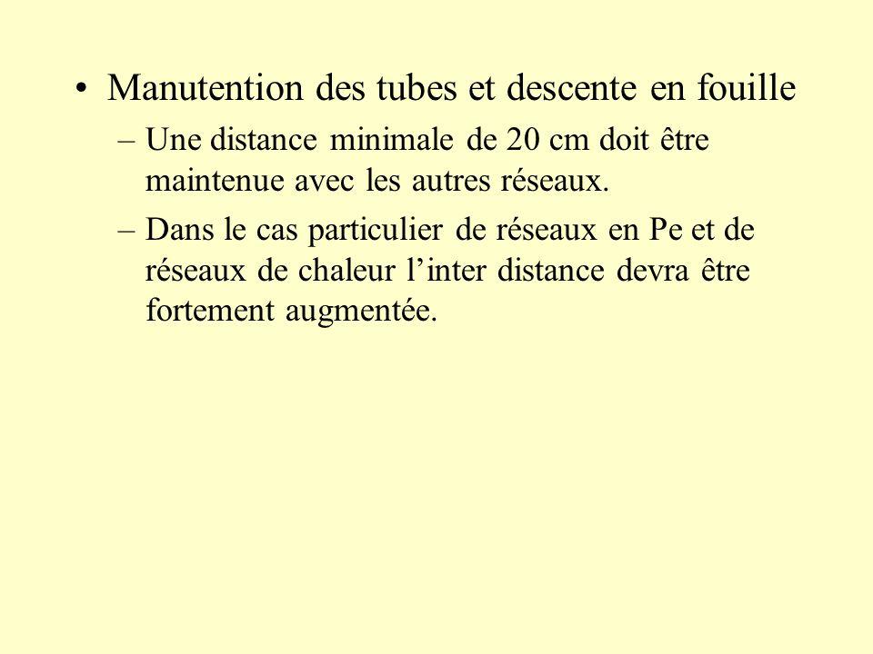 Manutention des tubes et descente en fouille –Une distance minimale de 20 cm doit être maintenue avec les autres réseaux. –Dans le cas particulier de