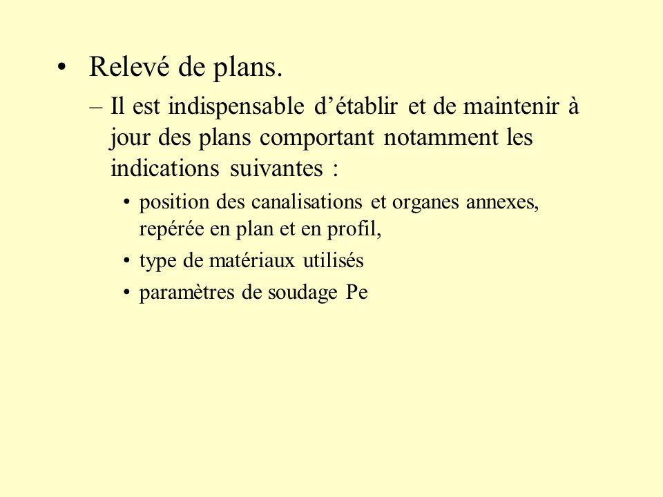 Relevé de plans. –Il est indispensable détablir et de maintenir à jour des plans comportant notamment les indications suivantes : position des canalis