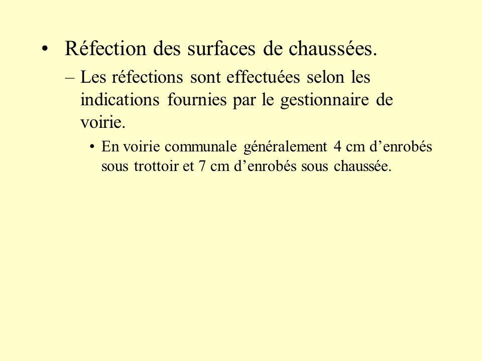 Réfection des surfaces de chaussées. –Les réfections sont effectuées selon les indications fournies par le gestionnaire de voirie. En voirie communale