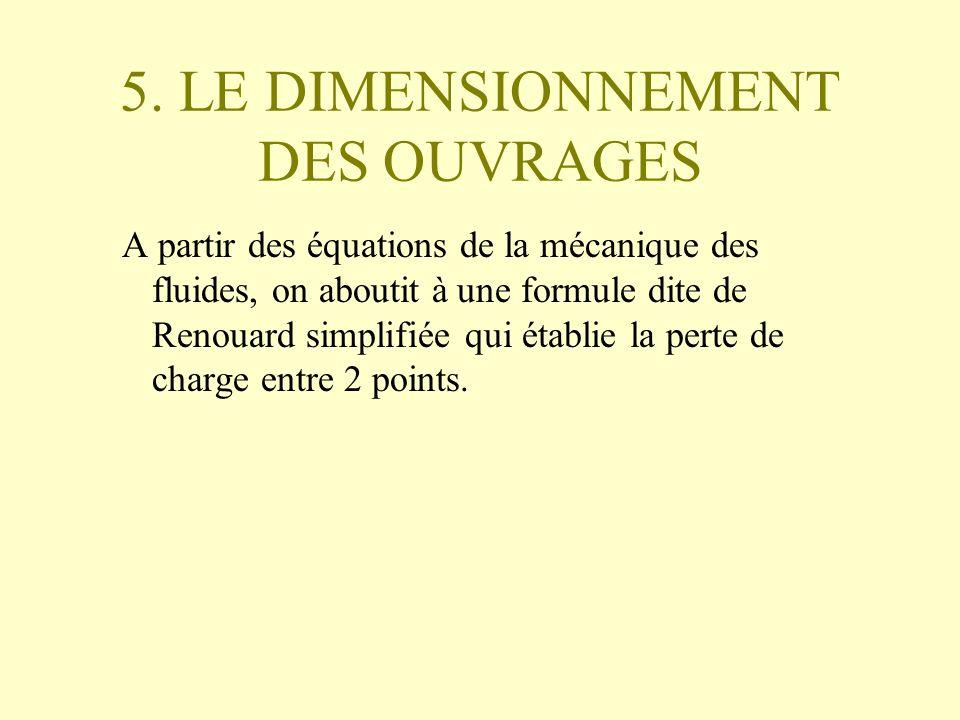 5. LE DIMENSIONNEMENT DES OUVRAGES A partir des équations de la mécanique des fluides, on aboutit à une formule dite de Renouard simplifiée qui établi
