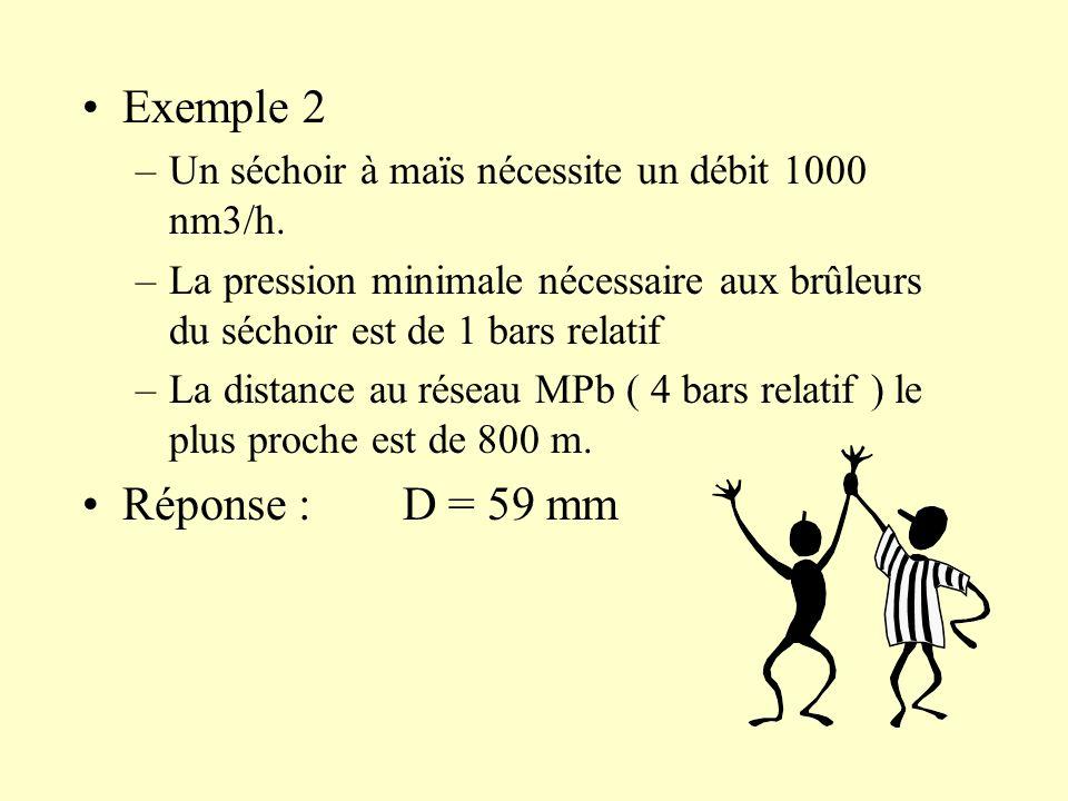 Exemple 2 –Un séchoir à maïs nécessite un débit 1000 nm3/h. –La pression minimale nécessaire aux brûleurs du séchoir est de 1 bars relatif –La distanc