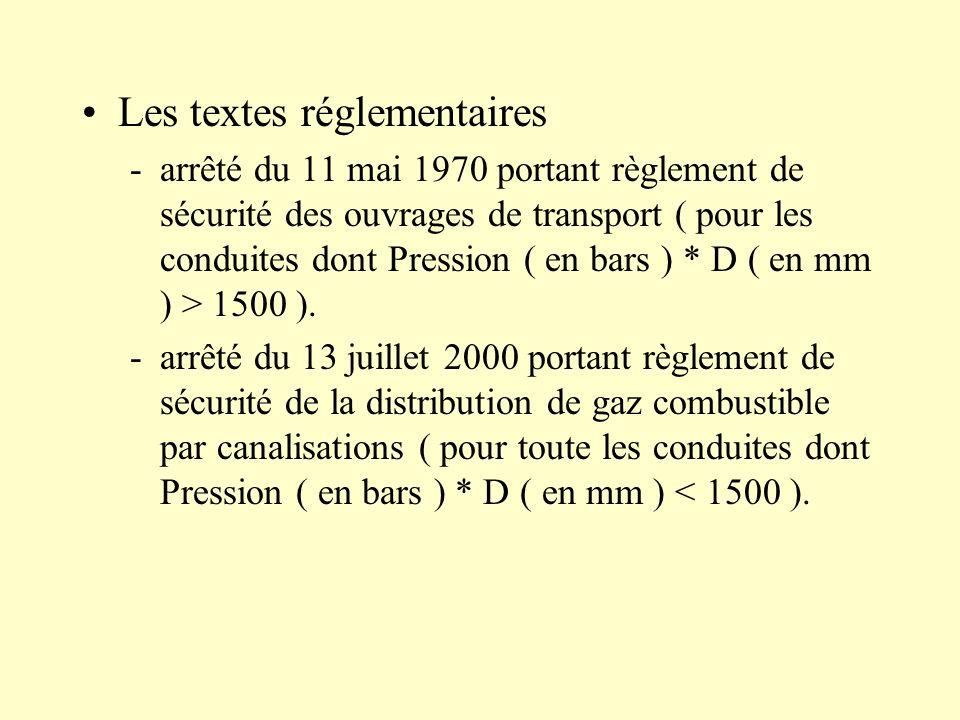 Les textes réglementaires -arrêté du 11 mai 1970 portant règlement de sécurité des ouvrages de transport ( pour les conduites dont Pression ( en bars