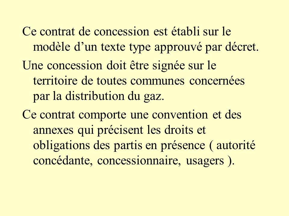 Ce contrat de concession est établi sur le modèle dun texte type approuvé par décret. Une concession doit être signée sur le territoire de toutes comm