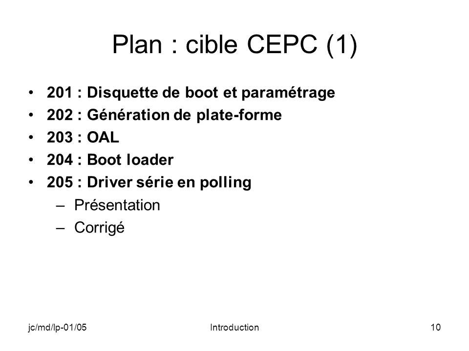 jc/md/lp-01/05Introduction10 Plan : cible CEPC (1) 201 : Disquette de boot et paramétrage 202 : Génération de plate-forme 203 : OAL 204 : Boot loader 205 : Driver série en polling –Présentation –Corrigé