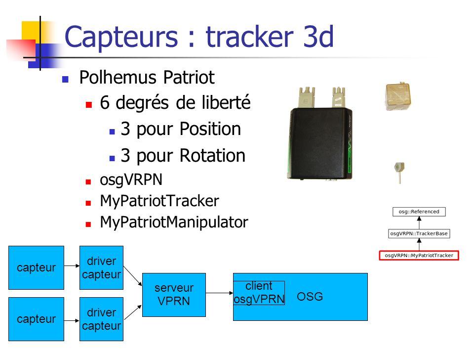 Polhemus Patriot 6 degrés de liberté 3 pour Position 3 pour Rotation osgVRPN MyPatriotTracker MyPatriotManipulator Capteurs : tracker 3d capteur drive