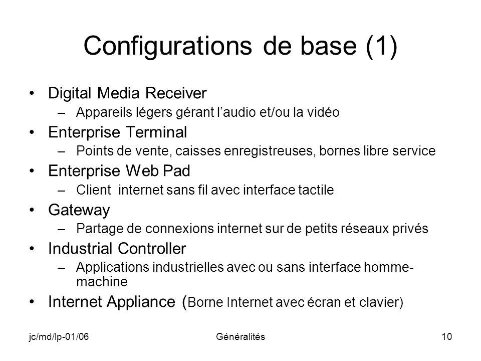 jc/md/lp-01/06Généralités10 Configurations de base (1) Digital Media Receiver –Appareils légers gérant laudio et/ou la vidéo Enterprise Terminal –Poin