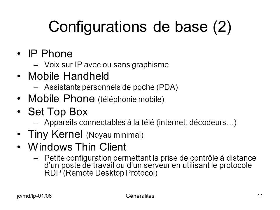 jc/md/lp-01/06Généralités11 Configurations de base (2) IP Phone –Voix sur IP avec ou sans graphisme Mobile Handheld –Assistants personnels de poche (P