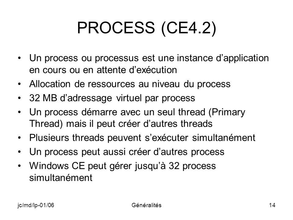 jc/md/lp-01/06Généralités14 PROCESS (CE4.2) Un process ou processus est une instance dapplication en cours ou en attente dexécution Allocation de ress