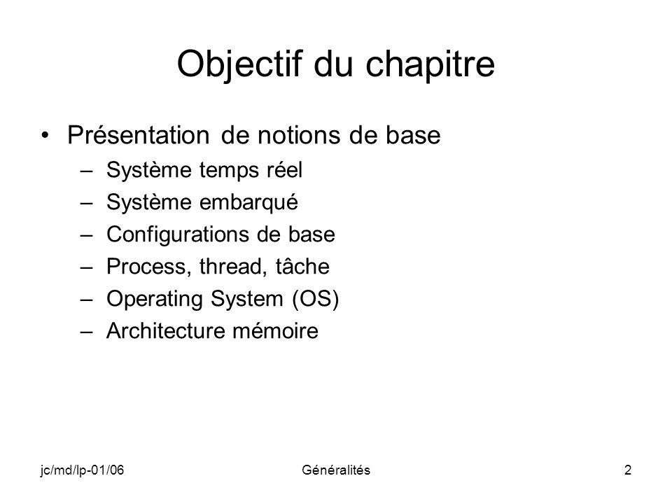 jc/md/lp-01/06Généralités2 Objectif du chapitre Présentation de notions de base –Système temps réel –Système embarqué –Configurations de base –Process