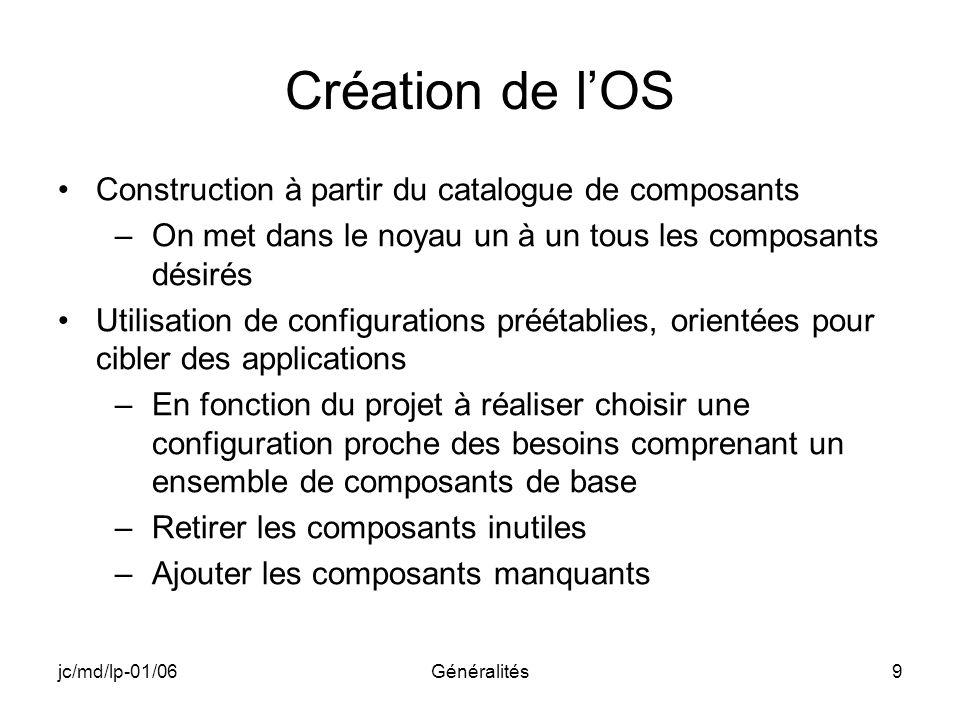 jc/md/lp-01/06Généralités9 Création de lOS Construction à partir du catalogue de composants –On met dans le noyau un à un tous les composants désirés