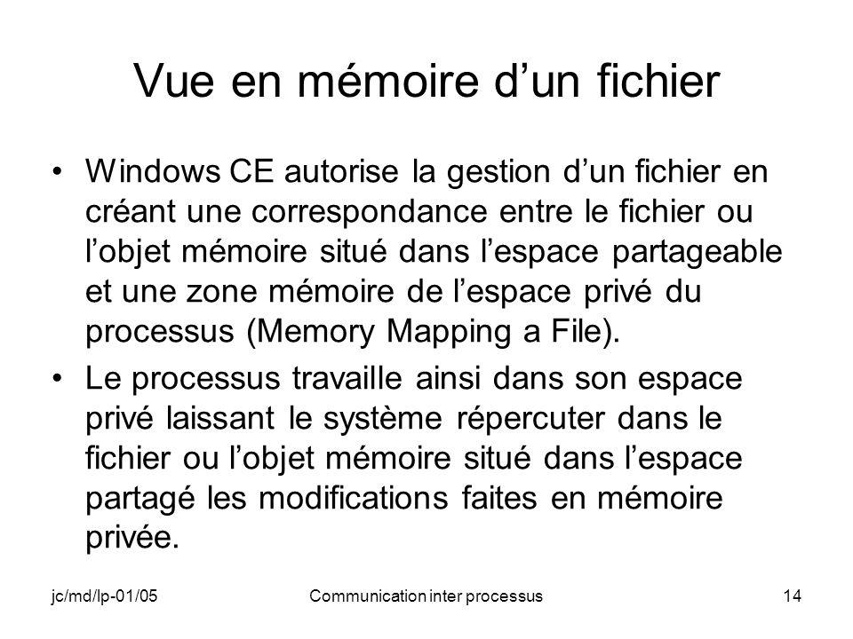 jc/md/lp-01/05Communication inter processus14 Vue en mémoire dun fichier Windows CE autorise la gestion dun fichier en créant une correspondance entre