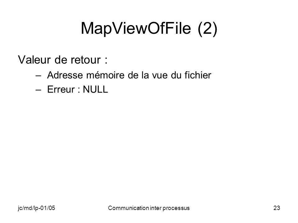 jc/md/lp-01/05Communication inter processus23 MapViewOfFile (2) Valeur de retour : –Adresse mémoire de la vue du fichier –Erreur : NULL