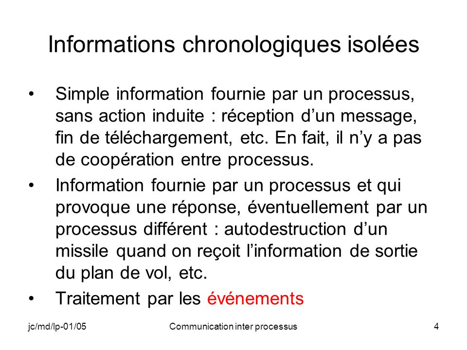 jc/md/lp-01/05Communication inter processus35 INTER_A (4) // Création du nom de partage hFileMapping = CreateFileMapping(hmyDataFile, NULL,PAGE_READWRITE,0,1024, _T( NOM_DE_PARTAGE_myDataFile )); if(hFileMapping == NULL) { RETAILMSG(1,(TEXT( INTER_A: Pb Création NOM_DE_PARTAGE_myDataFile.\n ))); return ExitProcess(0); }