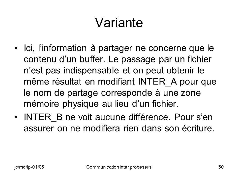 jc/md/lp-01/05Communication inter processus50 Variante Ici, linformation à partager ne concerne que le contenu dun buffer. Le passage par un fichier n