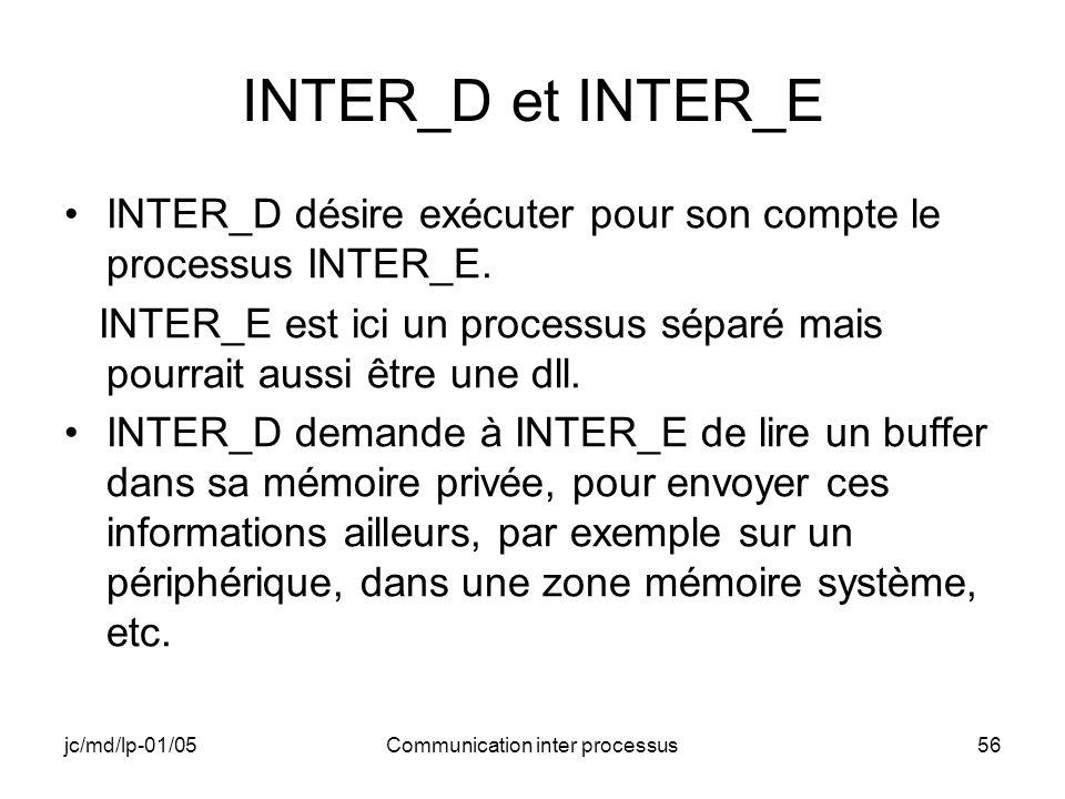 jc/md/lp-01/05Communication inter processus56 INTER_D et INTER_E INTER_D désire exécuter pour son compte le processus INTER_E. INTER_E est ici un proc