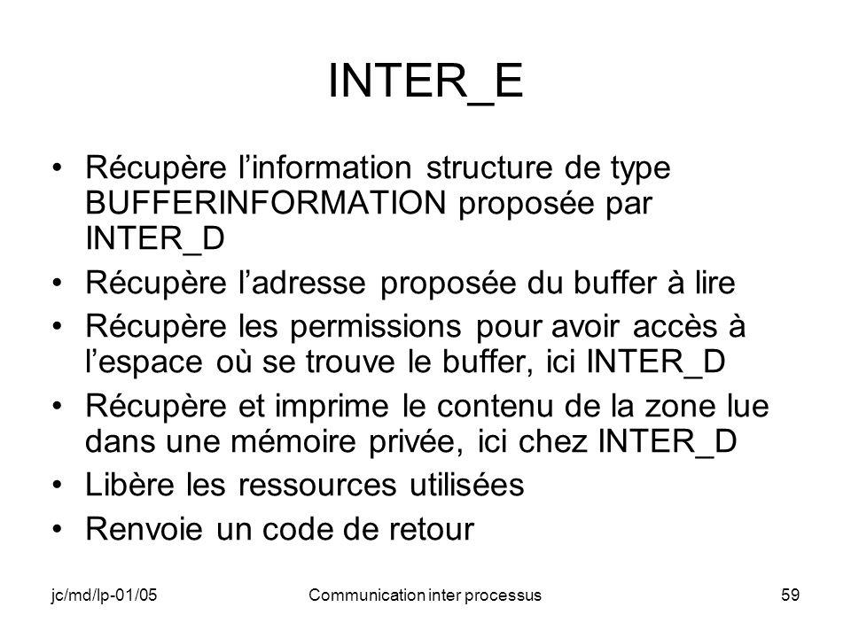 jc/md/lp-01/05Communication inter processus59 INTER_E Récupère linformation structure de type BUFFERINFORMATION proposée par INTER_D Récupère ladresse