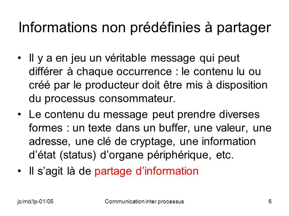 jc/md/lp-01/05Communication inter processus6 Informations non prédéfinies à partager Il y a en jeu un véritable message qui peut différer à chaque occ