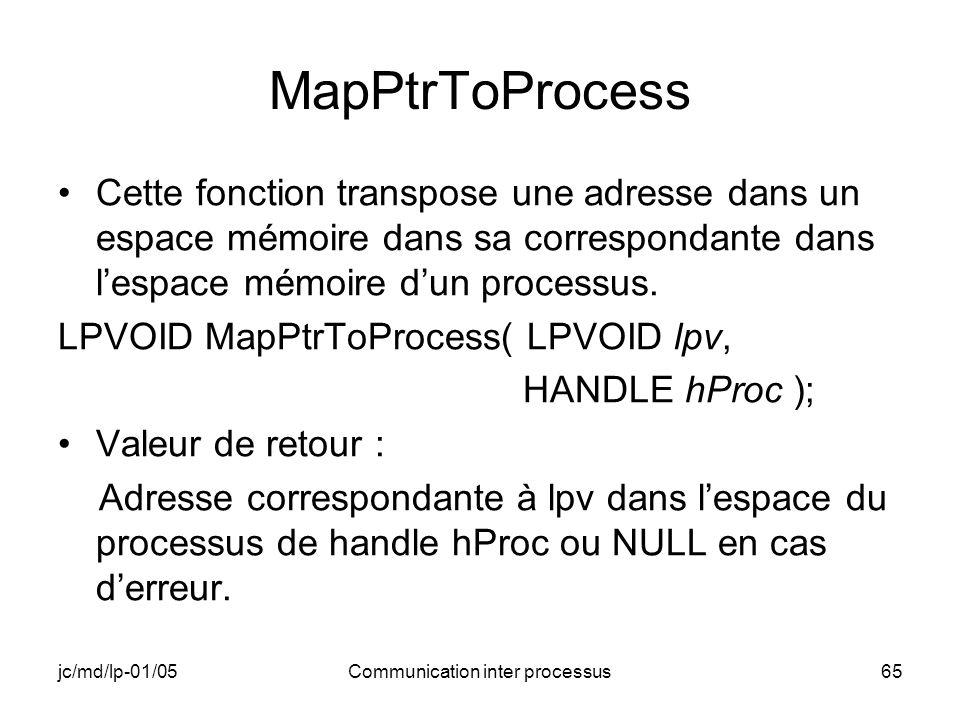 jc/md/lp-01/05Communication inter processus65 MapPtrToProcess Cette fonction transpose une adresse dans un espace mémoire dans sa correspondante dans