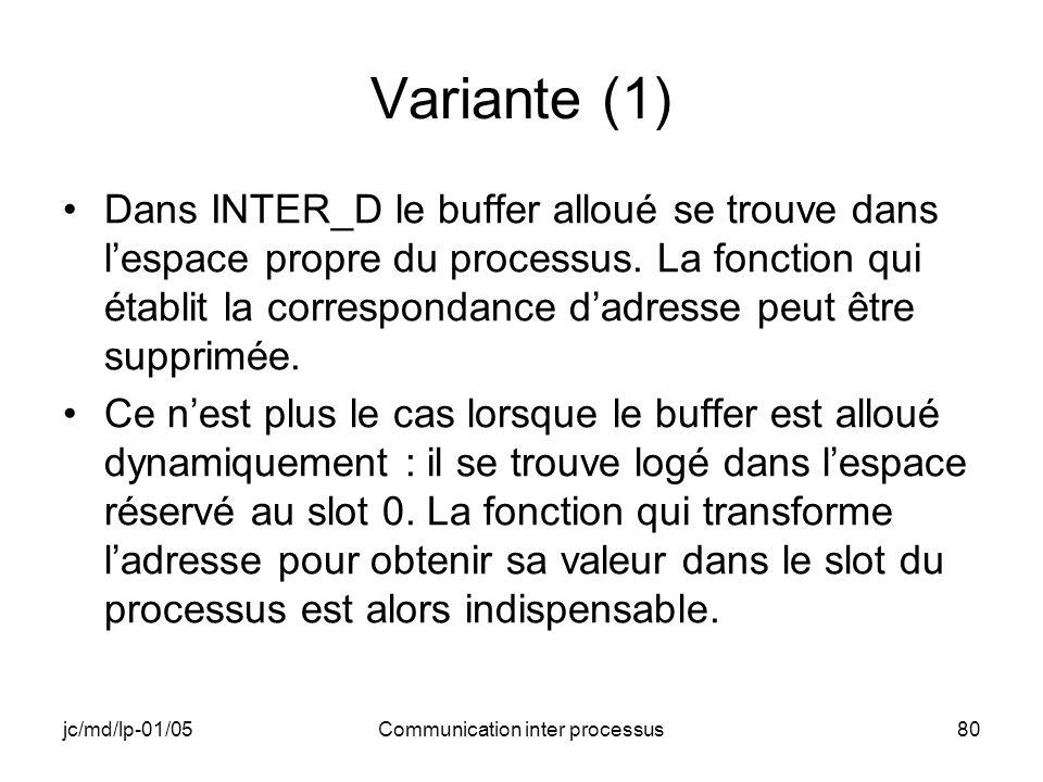 jc/md/lp-01/05Communication inter processus80 Variante (1) Dans INTER_D le buffer alloué se trouve dans lespace propre du processus. La fonction qui é