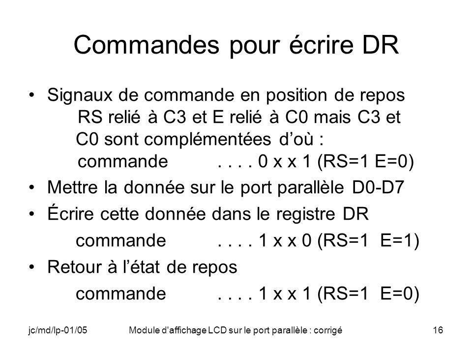 jc/md/lp-01/05Module d'affichage LCD sur le port parallèle : corrigé16 Commandes pour écrire DR Signaux de commande en position de repos RS relié à C3