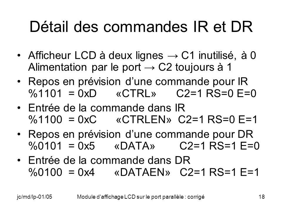 jc/md/lp-01/05Module d'affichage LCD sur le port parallèle : corrigé18 Détail des commandes IR et DR Afficheur LCD à deux lignes C1 inutilisé, à 0 Ali