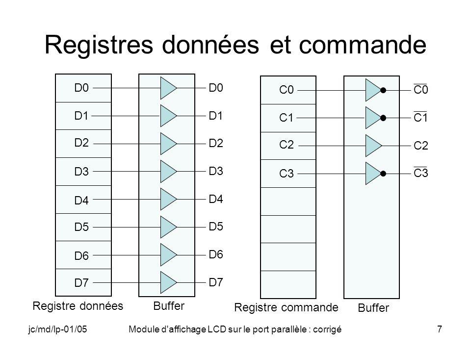 jc/md/lp-01/05Module d affichage LCD sur le port parallèle : corrigé18 Détail des commandes IR et DR Afficheur LCD à deux lignes C1 inutilisé, à 0 Alimentation par le port C2 toujours à 1 Repos en prévision dune commande pour IR %1101 = 0xD «CTRL» C2=1 RS=0 E=0 Entrée de la commande dans IR %1100 = 0xC «CTRLEN» C2=1 RS=0 E=1 Repos en prévision dune commande pour DR %0101 = 0x5 «DATA» C2=1 RS=1 E=0 Entrée de la commande dans DR %0100 = 0x4 «DATAEN» C2=1 RS=1 E=1