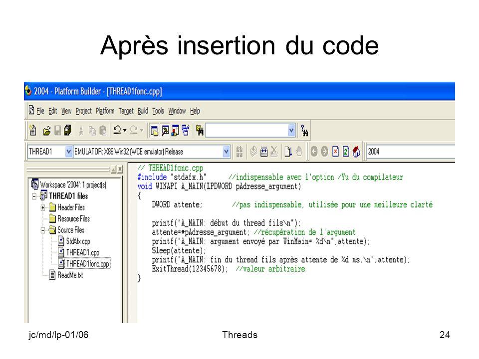 jc/md/lp-01/06Threads24 Après insertion du code