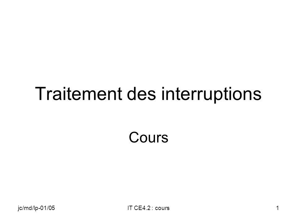 jc/md/lp-01/05IT CE4.2 : cours61 Inhibition (Disable) de lIT VOID InterruptDisable( DWORD idInt ); Parameters idInt [in] Identifier of an interrupt.