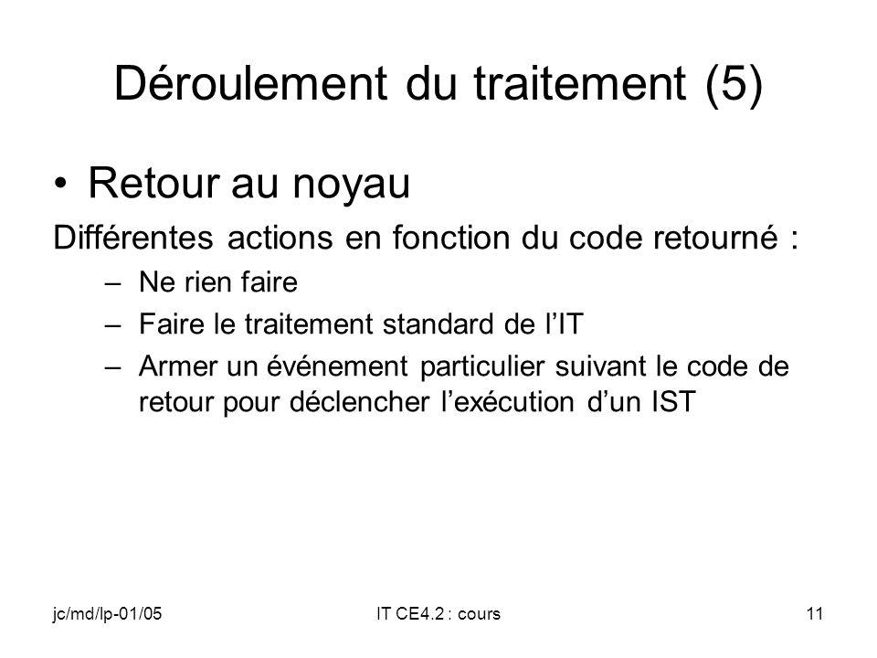 jc/md/lp-01/05IT CE4.2 : cours10 Déroulement du traitement (4) Fin de lISR après réception du code de retour –SYSINTR_NOP ou SYSINTR_UNDEFINED ou Code invalide retour au noyau avec un code SYSINTR_NOP –Code valide fermeture de la source dinterruption dans le PIC (ou les PICs) puis envoi du code au noyau –SYSINTR_CHAIN interruption sur un niveau non partagé.