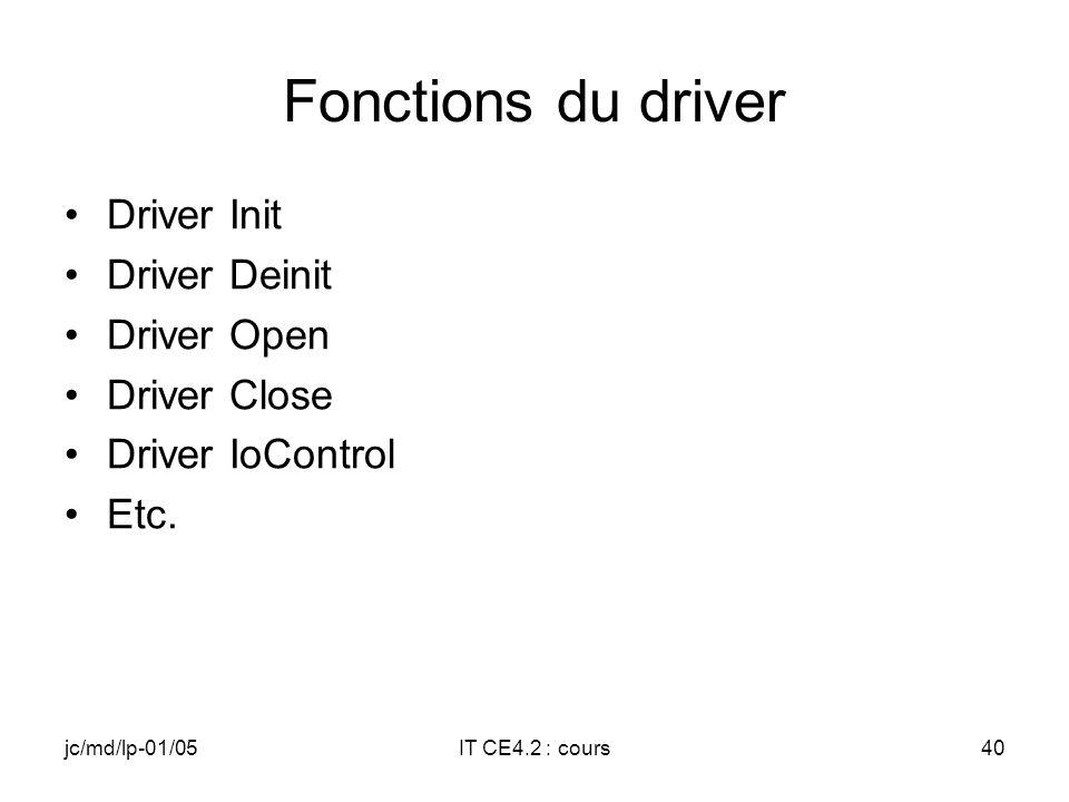 jc/md/lp-01/05IT CE4.2 : cours39 Liaison DRIVER IST Le driver va lancer lIST par un CreateThread et lui passer une structure avec des paramètres –Handle de lIST –Numéro dIT logique –Evénement associé à lIST (auto Reset) –Flag de fin dutilisation En cas de besoin il est possible de synchroniser une des fonctions du driver avec un Event local positionné par l IST qui signale que lIST a traité linterruption
