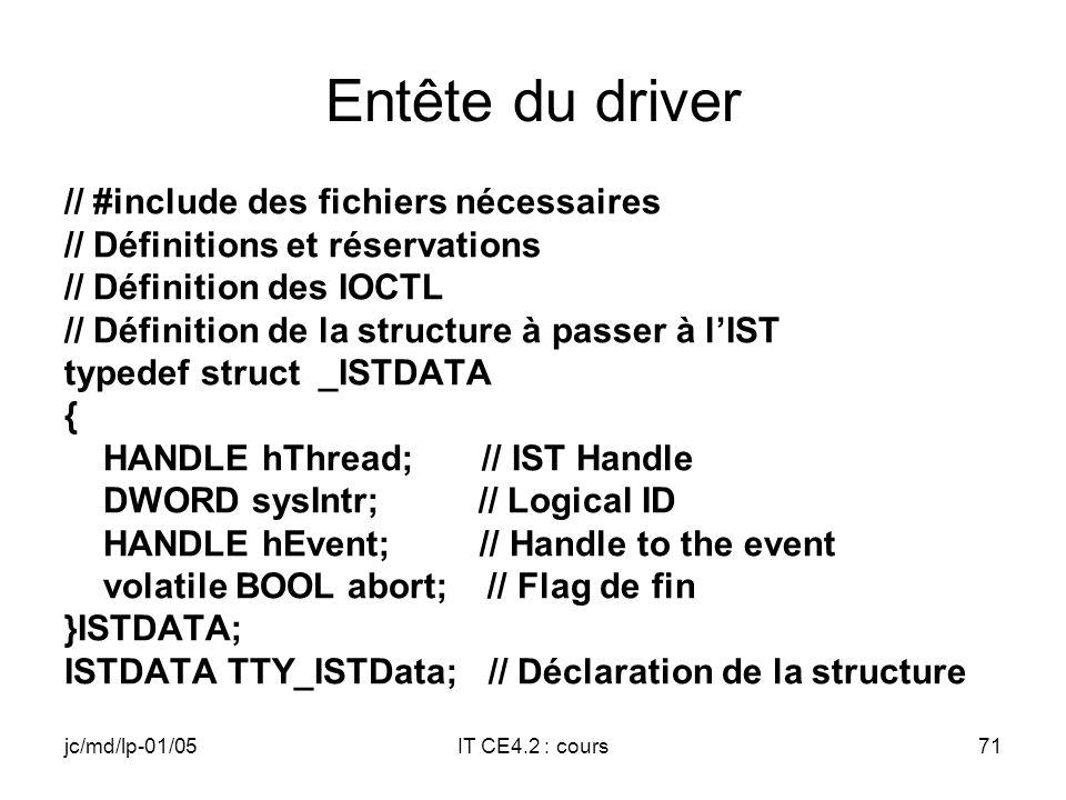 jc/md/lp-01/05IT CE4.2 : cours70 Structure du driver