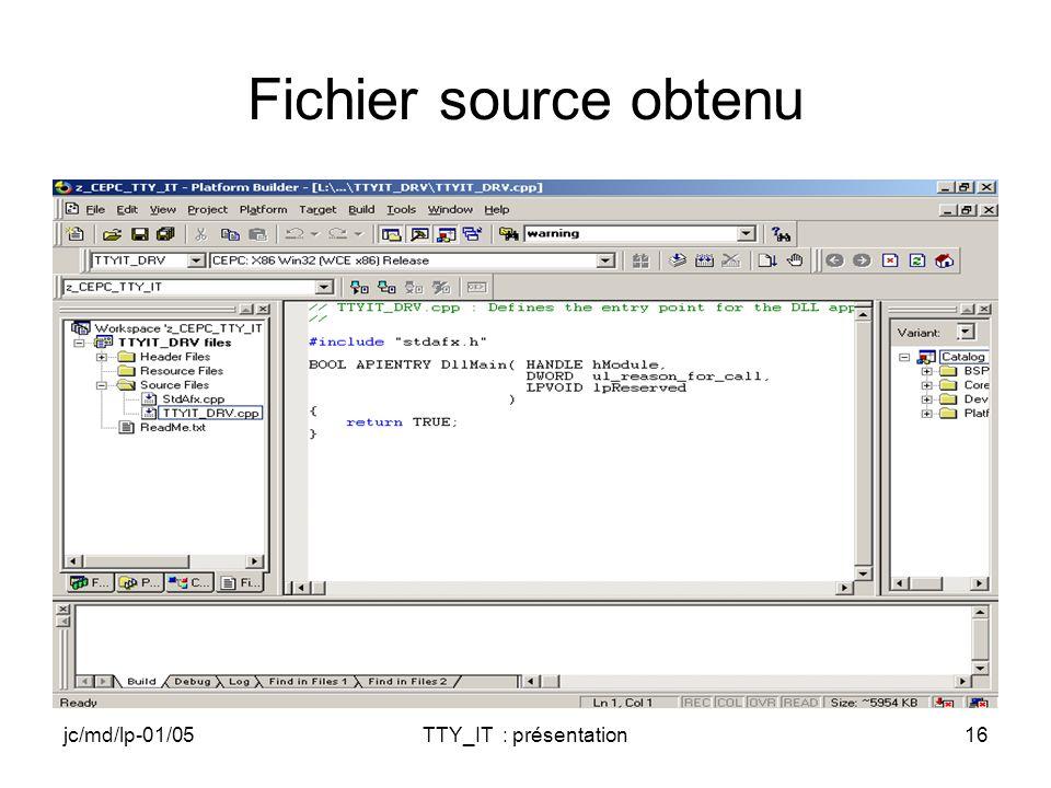 jc/md/lp-01/05TTY_IT : présentation16 Fichier source obtenu