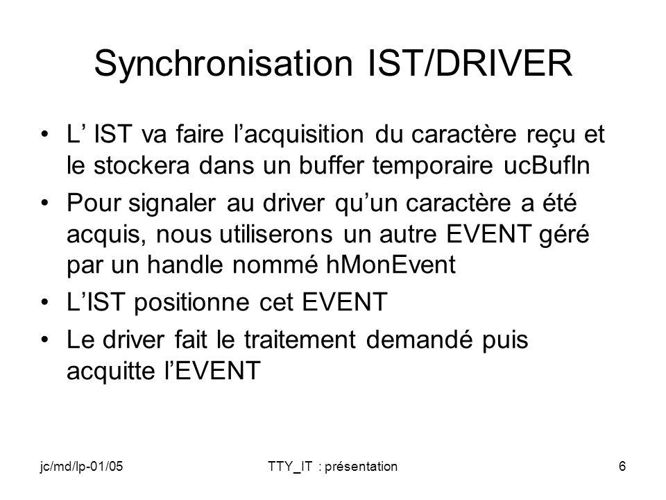 jc/md/lp-01/05TTY_IT : présentation6 Synchronisation IST/DRIVER L IST va faire lacquisition du caractère reçu et le stockera dans un buffer temporaire ucBufIn Pour signaler au driver quun caractère a été acquis, nous utiliserons un autre EVENT géré par un handle nommé hMonEvent LIST positionne cet EVENT Le driver fait le traitement demandé puis acquitte lEVENT